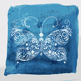 Vector white butterfly on watercolor blue background with blots