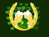 clover background gold horseshoes