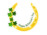 gold horseshoe with text