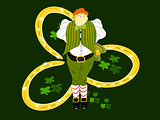 leprechaun large three gold horseshoes