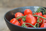 Beautiful fresh Perino snacking tomatoes in bowl in rustic setti