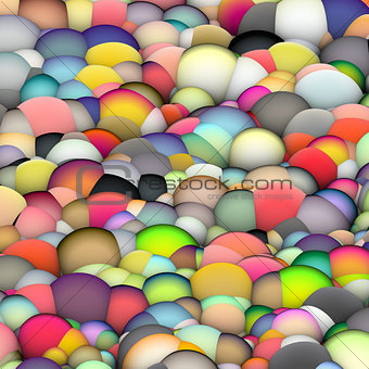 3d bubble balls backdrop in multiple bright colors