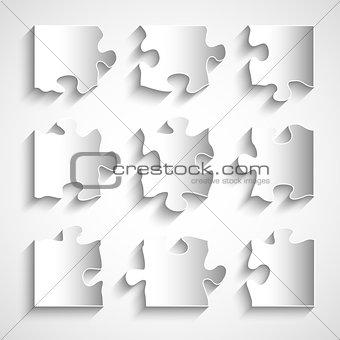 Flat design 9 piece puzzle template