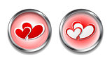 Abstract vector button with hearts