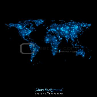 Abstract shiny lights vector world map