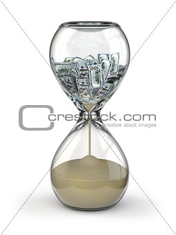 Time is money. Inflation. Hourglass and dollar.