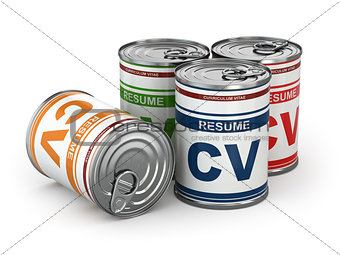 Cv can, Conceptual image of resume.