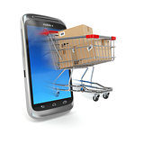 Online commerce, Mobile phone and shopping cart.