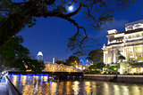 Singapore River and Full Moon.