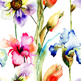 Seamless wallpaper with wild flowers