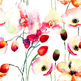 Seamless pattern with Pink orchids and Poppy flowers