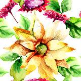 Original seamless wallpaper with wild flowers