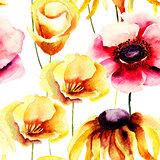 Seamless pattern with stylized wild flowers