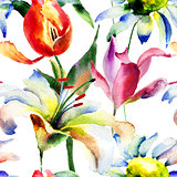 Seamless wallpaper with Lily and Tulips flowers