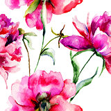 Seamless wallpaper with Peony flowers