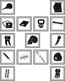 Icons with medical goods