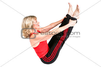 Fit Senior Woman Does Pilates