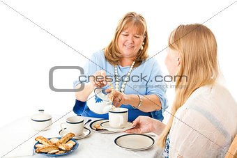 Mother Serving Tea to Daughter