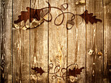 Wooden Background With Acorn