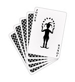 Black back side of playing cards and joker