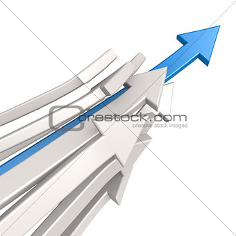 Blue arrow toward success