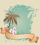 Summer background with palms and orchids