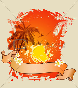 Background with palms and sun