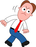 Cartoon Businessman Angry and Walking