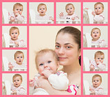 Portrait of young mother with the baby and 10 portraits of the b