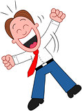 Cartoon Businessman Laughing and Jumping.