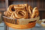 Turkish pastry simit in basket