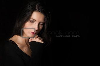 Beautiful introspective woman