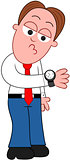 Cartoon Businessman Looking at Watch.