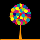 Abstract colored tree over black background