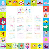 Frame with 2014 calendar with toys