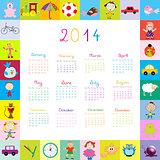 Frame with 2014 calendar with toys