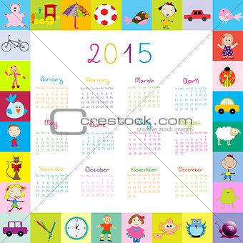 Frame with toys 2015 calandar for kids