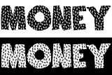 Money typography made of currency symbols