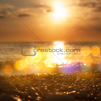 Close Up of Sea Pebble at Sunset