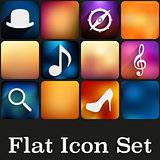 Simple flat icon set with multicolor trendy colors.