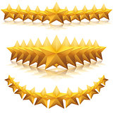 Gold metal five-pointed star.