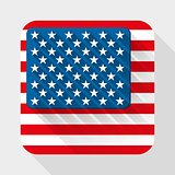 Simple flat icon with U.S. flag. Premium basic design with long shadow effect of web design objects.