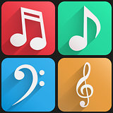 Basic sound musical Flat simple icon set with long shadow effect in stylish colors of web design objects.