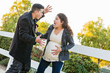 Stunned Excited Pregnant Woman and Husband with Hand on Belly