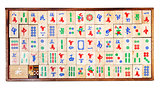 wooden mahjong game tiles in box isolated on white