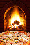 pizza with ham, mushroom and open fire in stove
