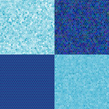 set of blue seamless texture of hexagons