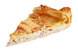 Slice of pie with curd and ham