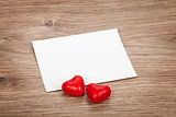 Valentine's day blank greeting card and candy hearts