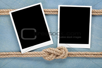 Blank photo frames with ship rope
